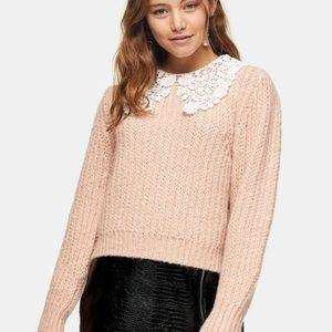 TopShop crochet collar sweater pink size S